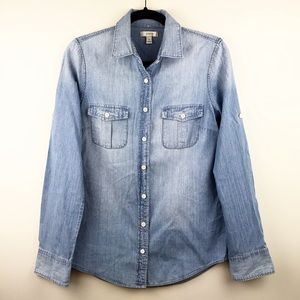 J. Crew Keeper Chambray Button Down Top